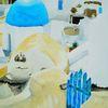 Sonne, Haus, Santorini, Blau