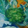 Grün, Pflanzen, Brokkoli, Aquarell