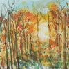 Wald, Herbst, Gold, Aquarell