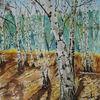 Birken, Wald, Winter, Aquarell