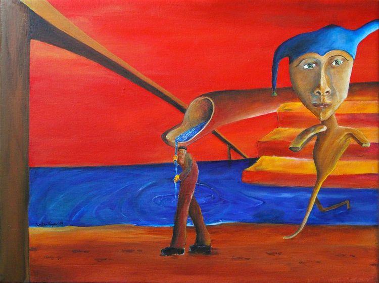 Acrylmalerei, Traum, Narr, Surreal, Skurril, Malerei