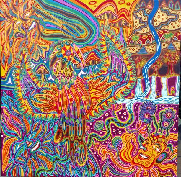 Farben, Berge, Sonnenschein, Papagei, Malerei