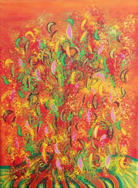 Herbst, Wind, Blätter, Baum, Farben, Abendrot