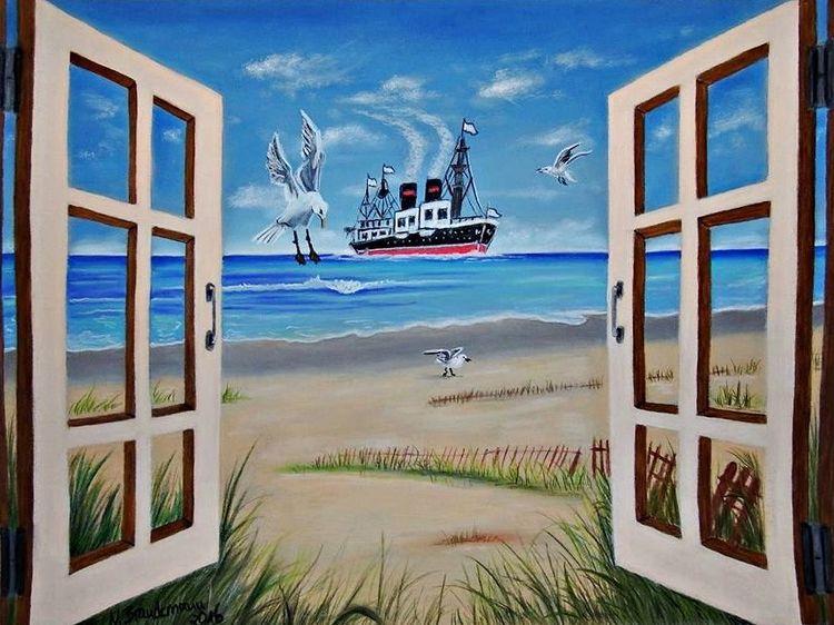 Schiff, Pastellmalerei, Himmel, Fenster, Möwe, Wolken