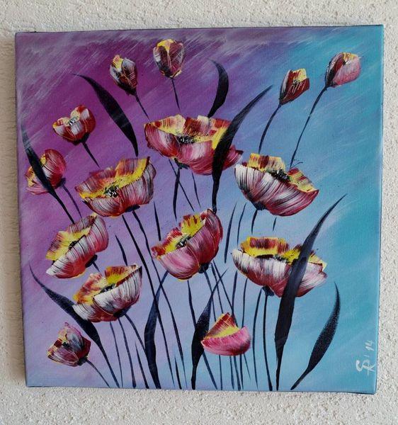 Mohn, Mohnfeld, Acrylmalerei, Blumen, Malerei