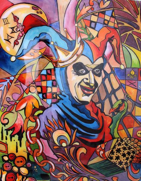 Blau, Portrait, Ölmalerei, Abstrakt, Rot, Mischtechnik