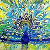 Gelb, Blau, Schmuck, Acrylmalerei