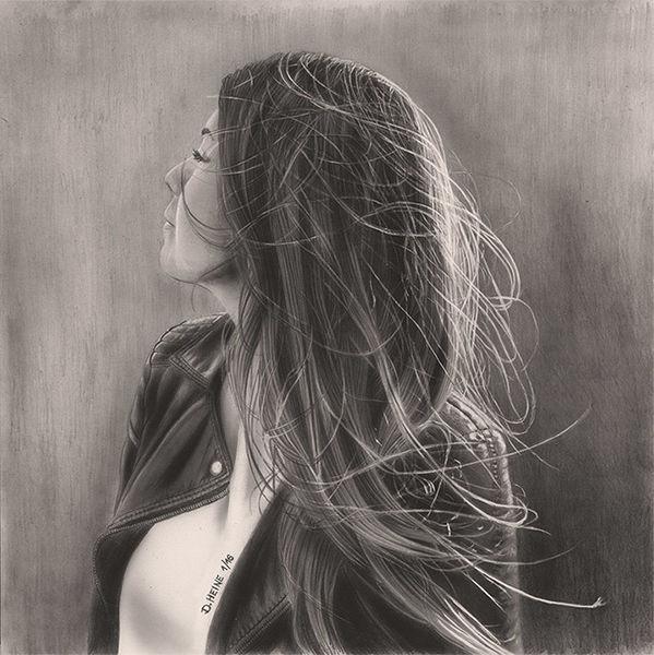 Zeichnung, Bleistiftzeichnung, Portrait, Lasurtechnik, Airbrush, Grafit