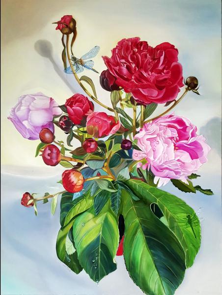 Stillleben, Gemälde, Kasyanov, Libelle, Ölmalerei, Pfingstrosen