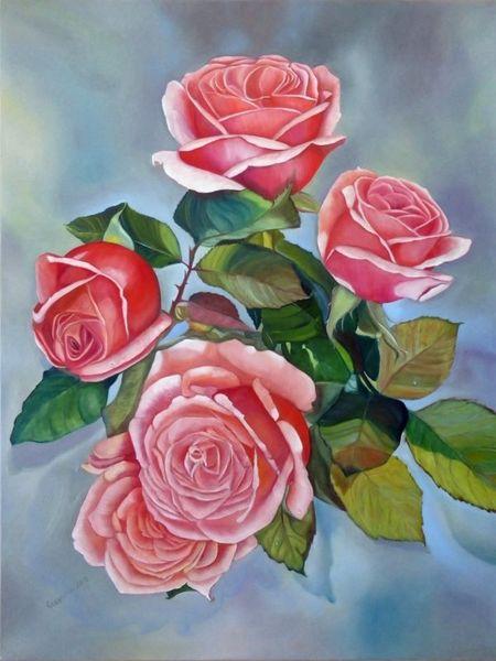 Tropfen, Leuchten, Rose, Ölmalerei, Malerei