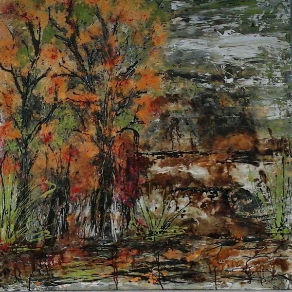 Busch, Laub, Baum, Wald, Landschaft, Malerei