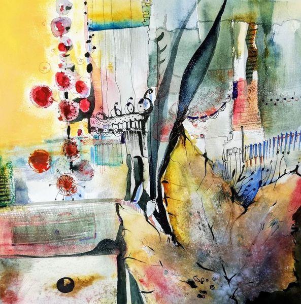 Abstrakt, Dekoration, Herbst, Ahorn, Blätter, Mischtechnik