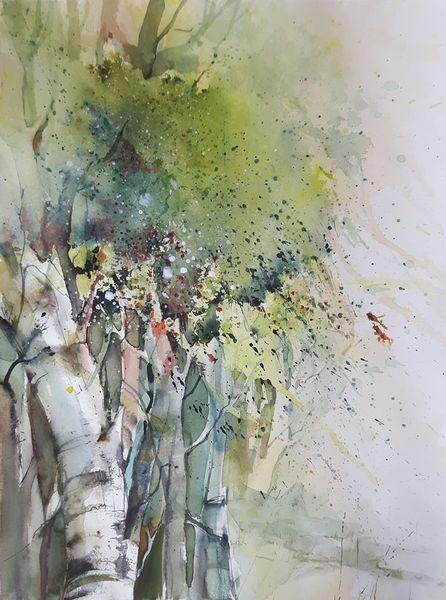 Laub, Birken, Baum, Frühlung, Aquarell