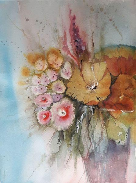 Blumen, Blüte, Strauß, Filigranes, Aquarell