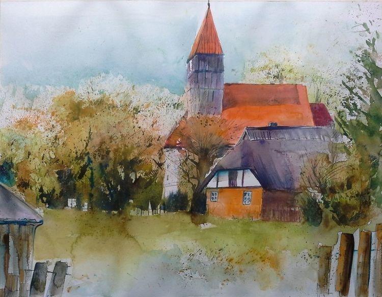 Middelhagen, Rügen, Reet, Kirche, Landschaft, Aquarell