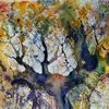 Herbst, Eichen, Baum, Aquarell