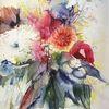 Blumen, Crysantemen, Gerbera, Aquarell