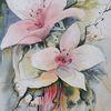 Malerei, Aquarellmalerei, Weiße blüten, Lilien