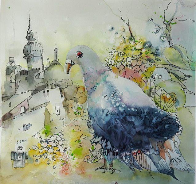 Taube, Gelb, Vogel, Stadt, Aquarellmalerei, Frühling