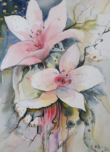 Malerei, Aquarellmalerei, Lilien, Weiße blüten, Blumen, Mischtechnik