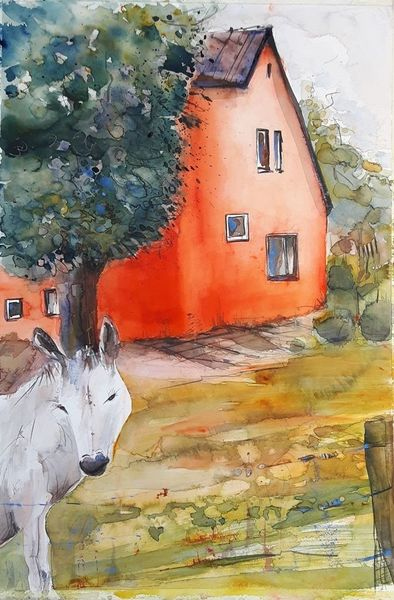 Tiere, Haus, Rot, Worpswede, Esel, Aquarell
