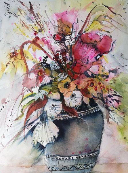 Wiese, Blüte, Blumen, Strauß, Rot, Aquarell