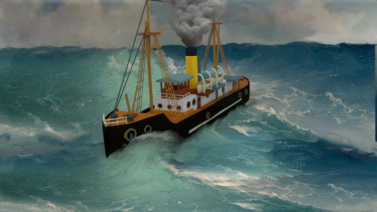 Dampfschiff, Meer, Schiff, Digitale kunst,