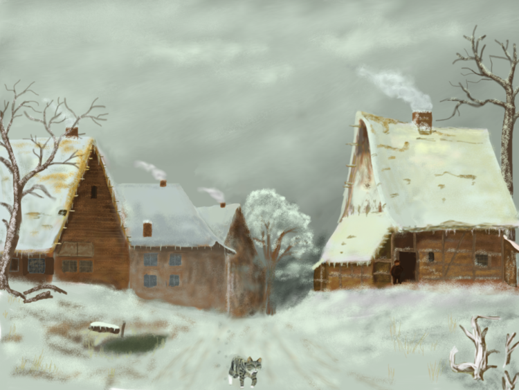 Winter, Winterlandschaft, Dorf, Schnee, Digitale kunst, Digitale gemälde