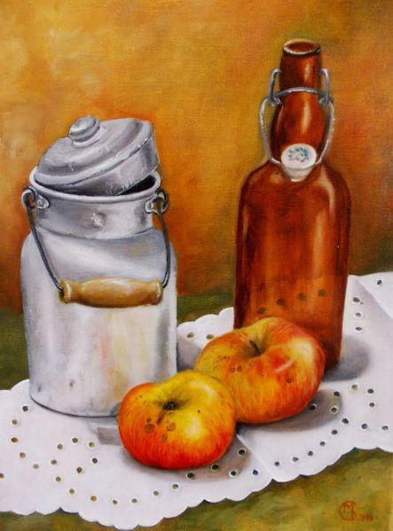 Milchkanne, Ölmalerei, Apfel, Flasche, Stillleben, Malerei