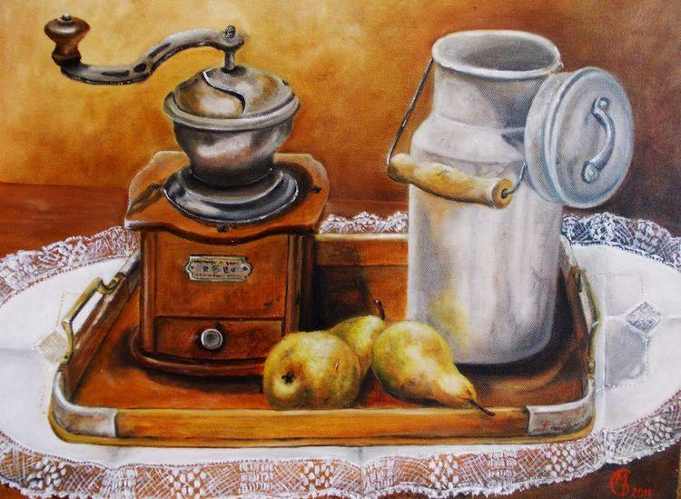 Stillleben, Kaffeemühle, Ölmalerei, Milchkanne, Birne, Malerei