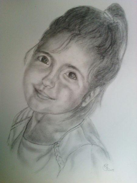 Skizze, Portrait, Kinder, Schwarz, Mädchen, Bleistiftzeichnung