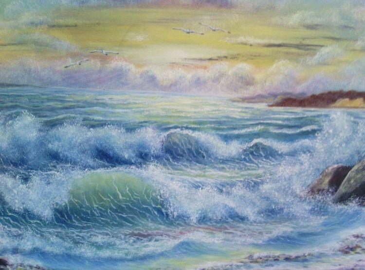 Welle, Brandung, Sonnenaufgang, Meer, Morgenstimmung, Malerei