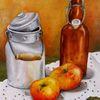 Milchkanne, Ölmalerei, Apfel, Flasche