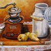 Milchkanne, Birne, Stillleben, Ölmalerei
