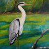 Malerei, Reiher, Ölmalerei, Fischreiher