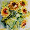 Stillleben, Mischtechnik, Pflanzen, Sonnenblumen