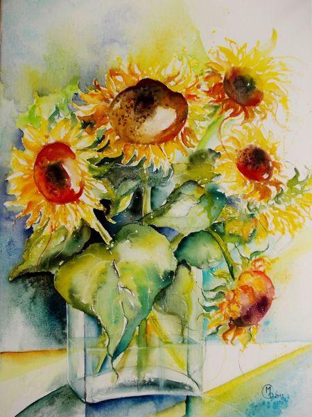 Mischtechnik, Pflanzen, Sonnenblumen, Stillleben, Vase