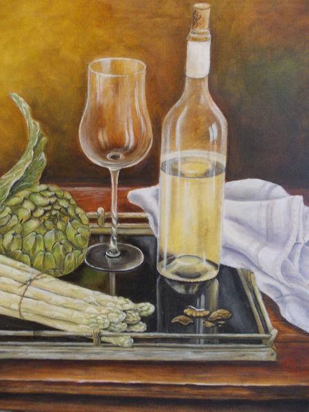 Ölmalerei, Stillleben, Weinglas, Spiegelung, Alte meistertechnik, Spargel
