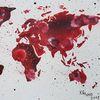 Weltkarte, Erde, Fallschirme, Rot schwarz