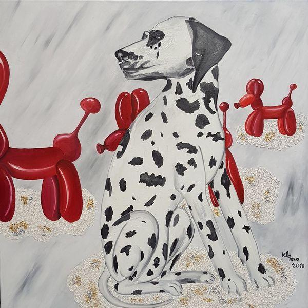 Ölmalerei, Rot schwarz, Dalmatiner, Malerei,