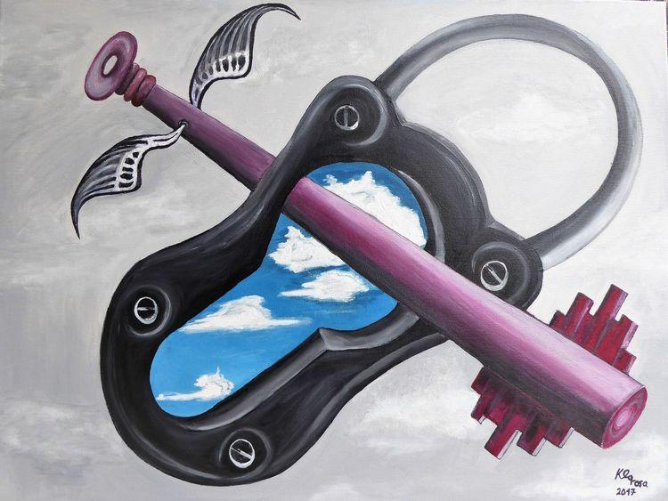 Wolken, Schloss, Rot schwarz, Schlüssel, Malerei