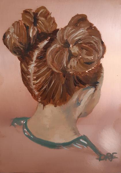 Kinderportrait, Ölmalerei, Naturrealistisch, Kopf, Mädchen, Türkis