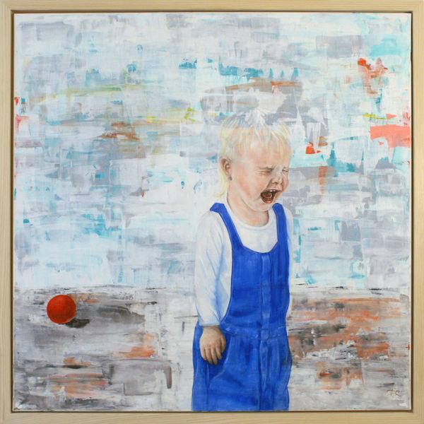 Kind, Zeitgenössisch, Menschen, Figur, Rot, Ölmalerei