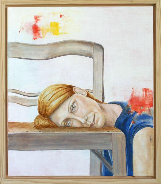 Frau, Rot, Ölmalerei, Kopf, Blau, Stuhl