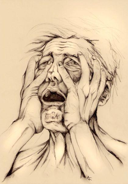 Schock, Angst, Schrei, Stress, Zeichnung, Terror
