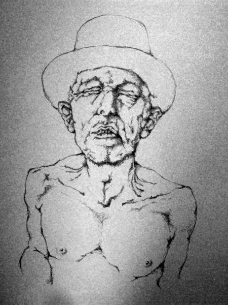 Schmerz, Surreal, Zeichnung, Mann, Hut, Zeichnungen