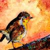 Malerei, Vogel, Rotkehlchen, Äste