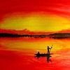 Boot, Aquarellmalerei, Sonnenuntergang, Aquarell