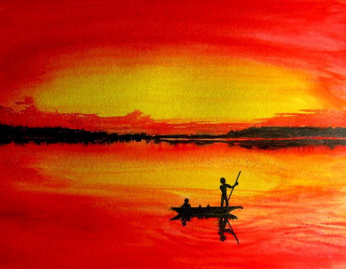 Sonnenuntergang, Boot, Aquarellmalerei, Aquarell