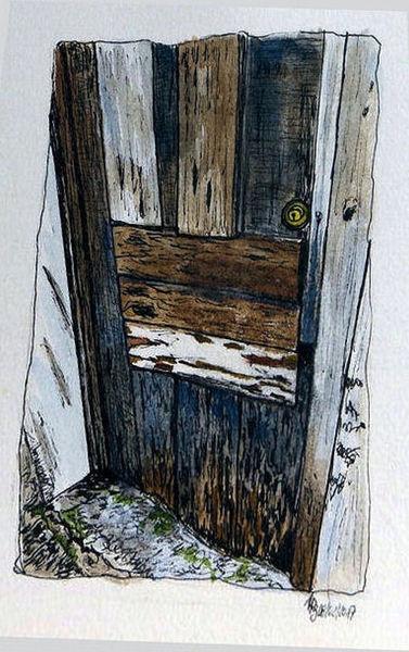 bild t r holz malerei alt aquarell von annarenate bei kunstnet. Black Bedroom Furniture Sets. Home Design Ideas